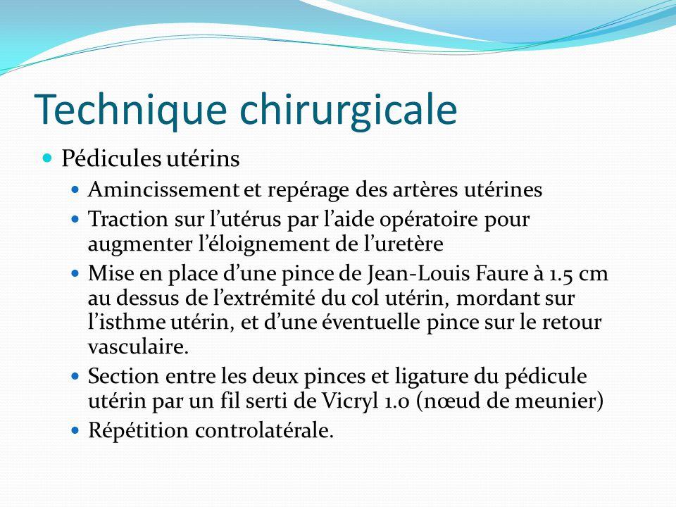 Technique chirurgicale Pédicules utérins Amincissement et repérage des artères utérines Traction sur lutérus par laide opératoire pour augmenter léloi