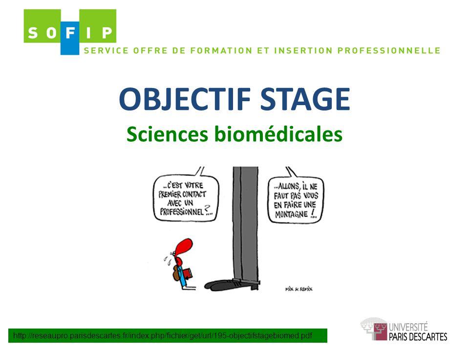 OBJECTIF STAGE Sciences biomédicales http://reseaupro.parisdescartes.fr/index.php/fichier/get/url/195-objectifstagebiomed.pdf