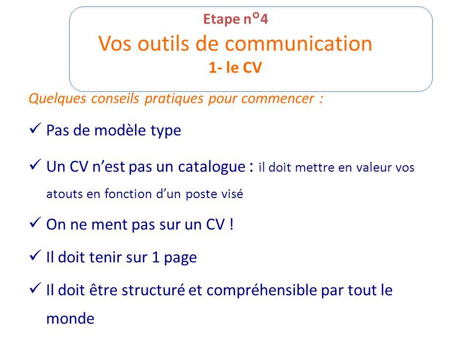 Etape n°4 Vos outils de communication 1- le CV Quelques conseils pratiques pour commencer : Pas de modèle type Un CV nest pas un catalogue : il doit m
