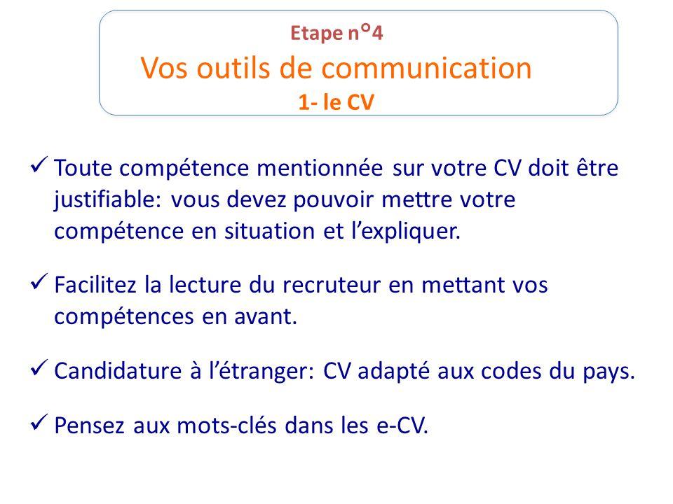 Etape n°4 Vos outils de communication 1- le CV Toute compétence mentionnée sur votre CV doit être justifiable: vous devez pouvoir mettre votre compéte