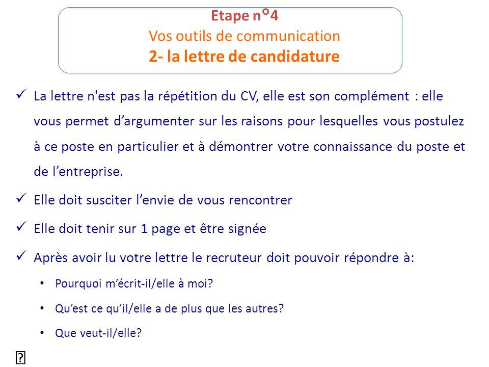 Etape n°4 Vos outils de communication 2- la lettre de candidature La lettre n'est pas la répétition du CV, elle est son complément : elle vous permet