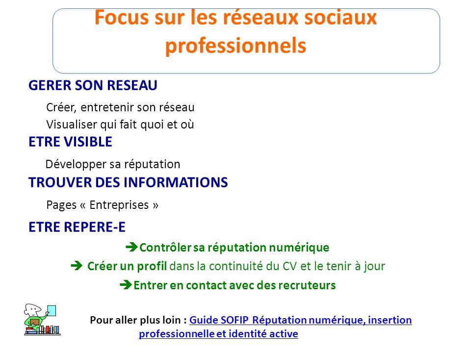 Focus sur les réseaux sociaux professionnels GERER SON RESEAU Créer, entretenir son réseau Visualiser qui fait quoi et où ETRE VISIBLE Développer sa r
