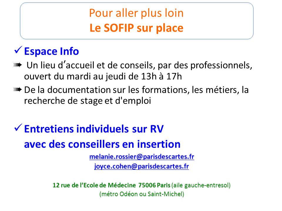 Pour aller plus loin Le SOFIP sur place Espace Info Un lieu daccueil et de conseils, par des professionnels, ouvert du mardi au jeudi de 13h à 17h De