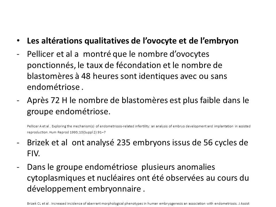 Les altérations qualitatives de lovocyte et de lembryon -Pellicer et al a montré que le nombre dovocytes ponctionnés, le taux de fécondation et le nom