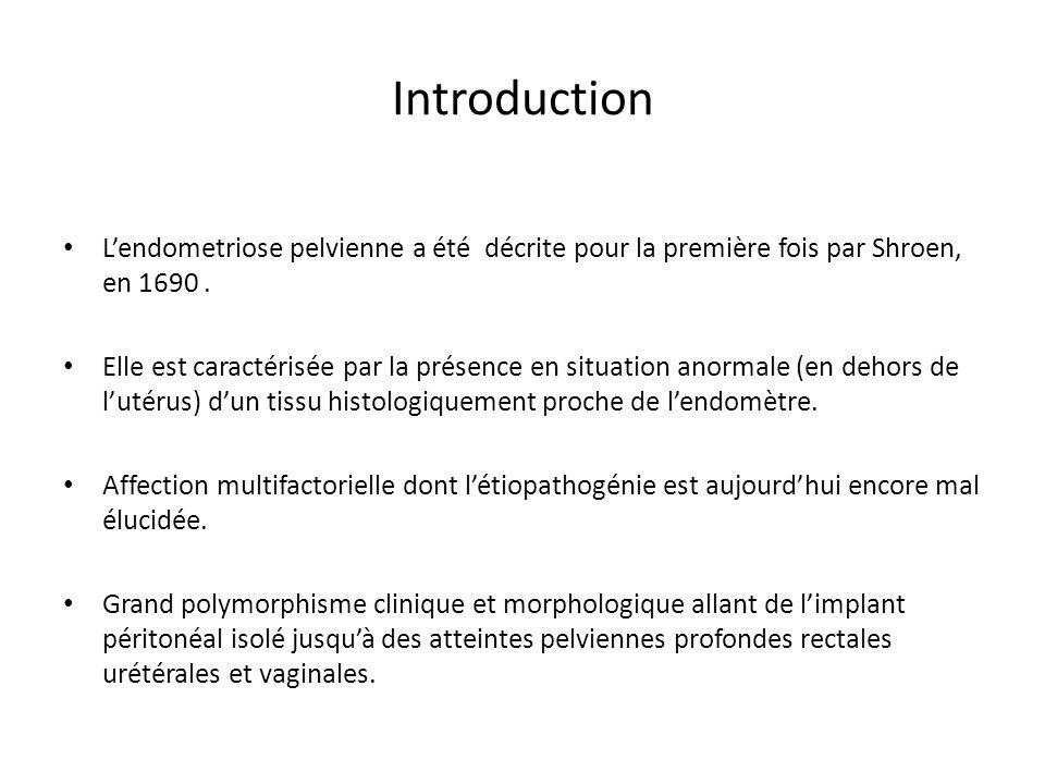 Introduction Lendometriose pelvienne a été décrite pour la première fois par Shroen, en 1690. Elle est caractérisée par la présence en situation anor