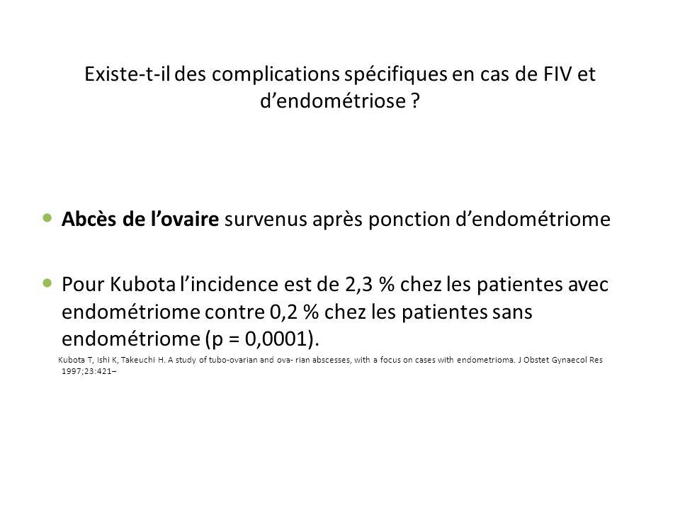 Existe-t-il des complications spécifiques en cas de FIV et dendométriose ? Abcès de lovaire survenus après ponction dendométriome Pour Kubota linciden