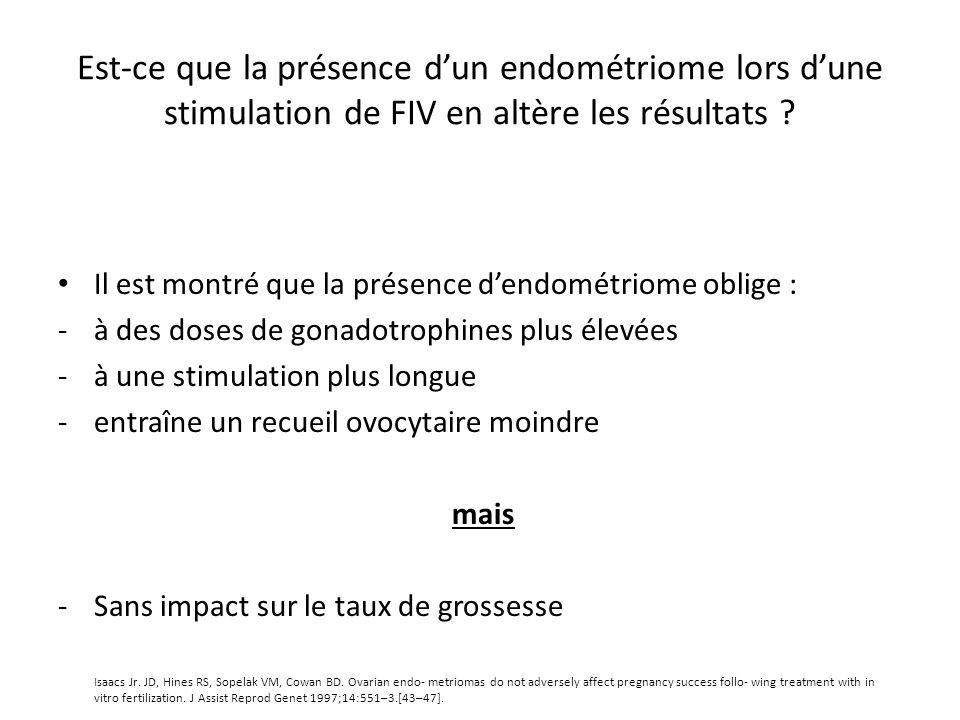 Est-ce que la présence dun endométriome lors dune stimulation de FIV en altère les résultats ? Il est montré que la présence dendométriome oblige : -à