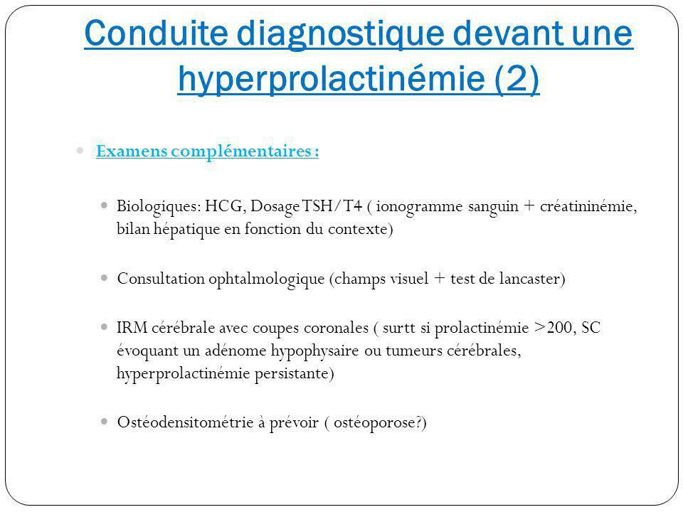 Conduite diagnostique devant une hyperprolactinémie (2) Examens complémentaires : Biologiques: HCG, Dosage TSH/T4 ( ionogramme sanguin + créatininémie