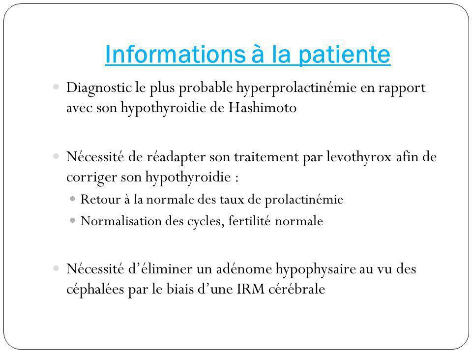 Informations à la patiente Diagnostic le plus probable hyperprolactinémie en rapport avec son hypothyroidie de Hashimoto Nécessité de réadapter son tr