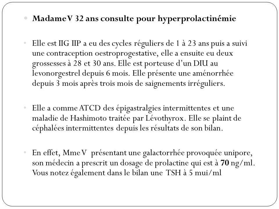 Madame V 32 ans consulte pour hyperprolactinémie Elle est IIG IIP a eu des cycles réguliers de 1 à 23 ans puis a suivi une contraception oestroprogest