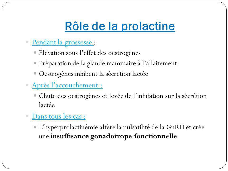Rôle de la prolactine Pendant la grossesse : Élévation sous leffet des oestrogènes Préparation de la glande mammaire à lallaitement Oestrogènes inhibe