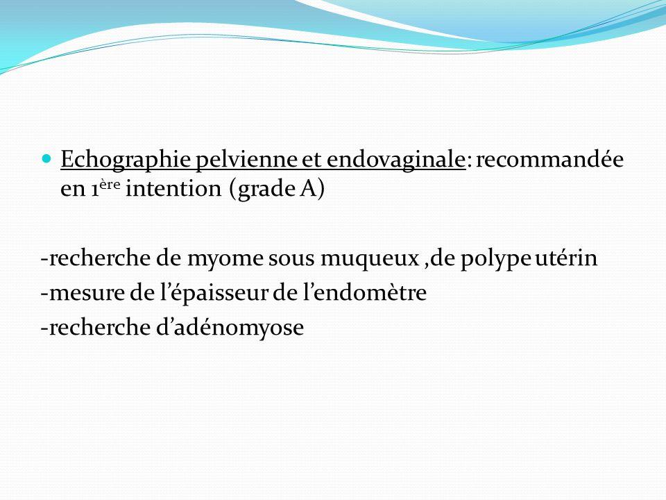 Echographie pelvienne et endovaginale: recommandée en 1 ère intention (grade A) -recherche de myome sous muqueux,de polype utérin -mesure de lépaisseu