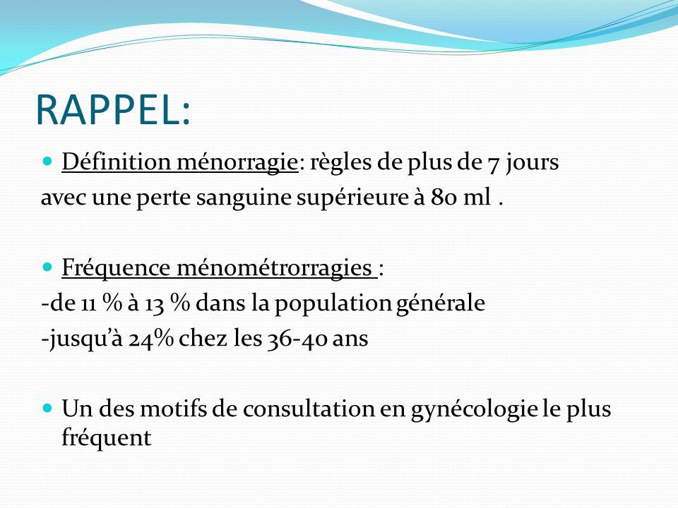RAPPEL: Définition ménorragie: règles de plus de 7 jours avec une perte sanguine supérieure à 80 ml. Fréquence ménométrorragies : -de 11 % à 13 % dans