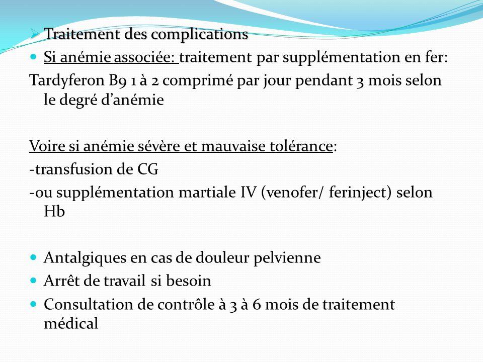 Traitement des complications Traitement des complications Si anémie associée: traitement par supplémentation en fer: Tardyferon B9 1 à 2 comprimé par