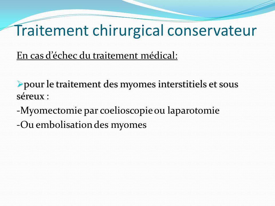 Traitement chirurgical conservateur En cas déchec du traitement médical: pour le traitement des myomes interstitiels et sous séreux pour le traitement