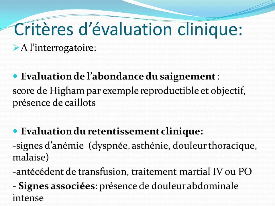 Critères dévaluation clinique: A linterrogatoire: Evaluation de labondance du saignement : score de Higham par exemple reproductible et objectif, prés