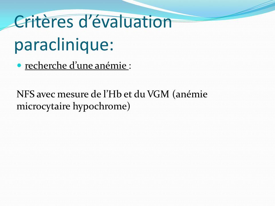 Critères dévaluation paraclinique: recherche dune anémie : NFS avec mesure de lHb et du VGM (anémie microcytaire hypochrome)