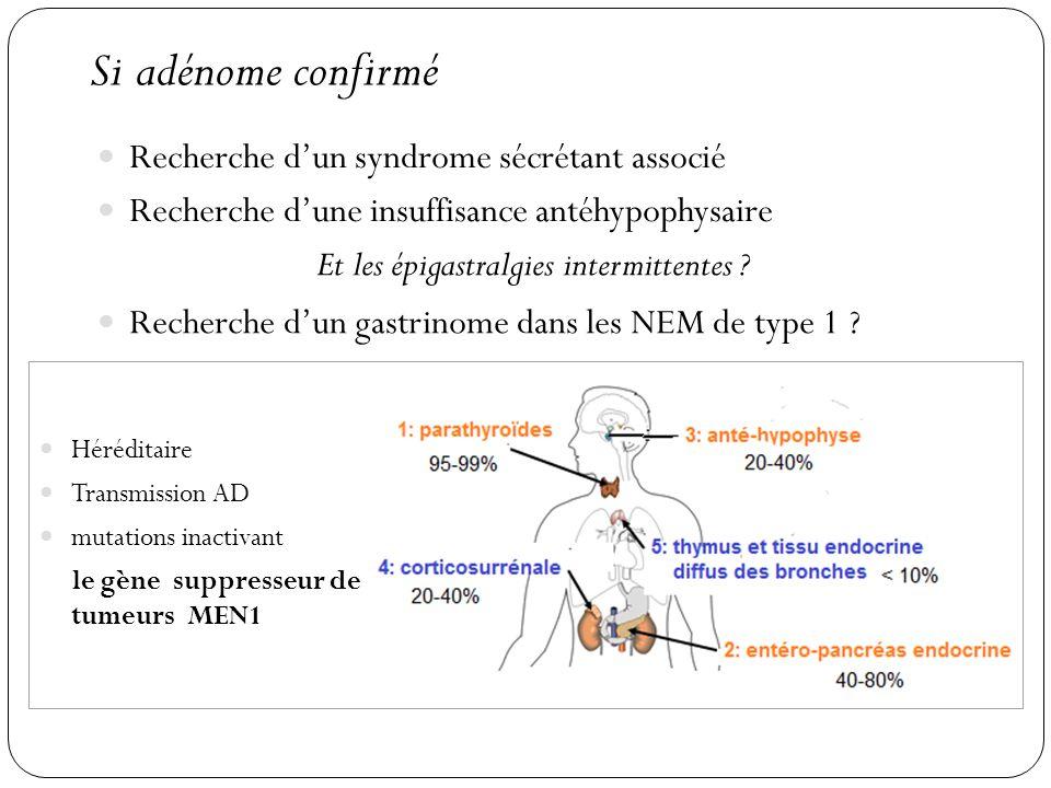 Si adénome confirmé Recherche dun syndrome sécrétant associé Recherche dune insuffisance antéhypophysaire Et les épigastralgies intermittentes ? Reche