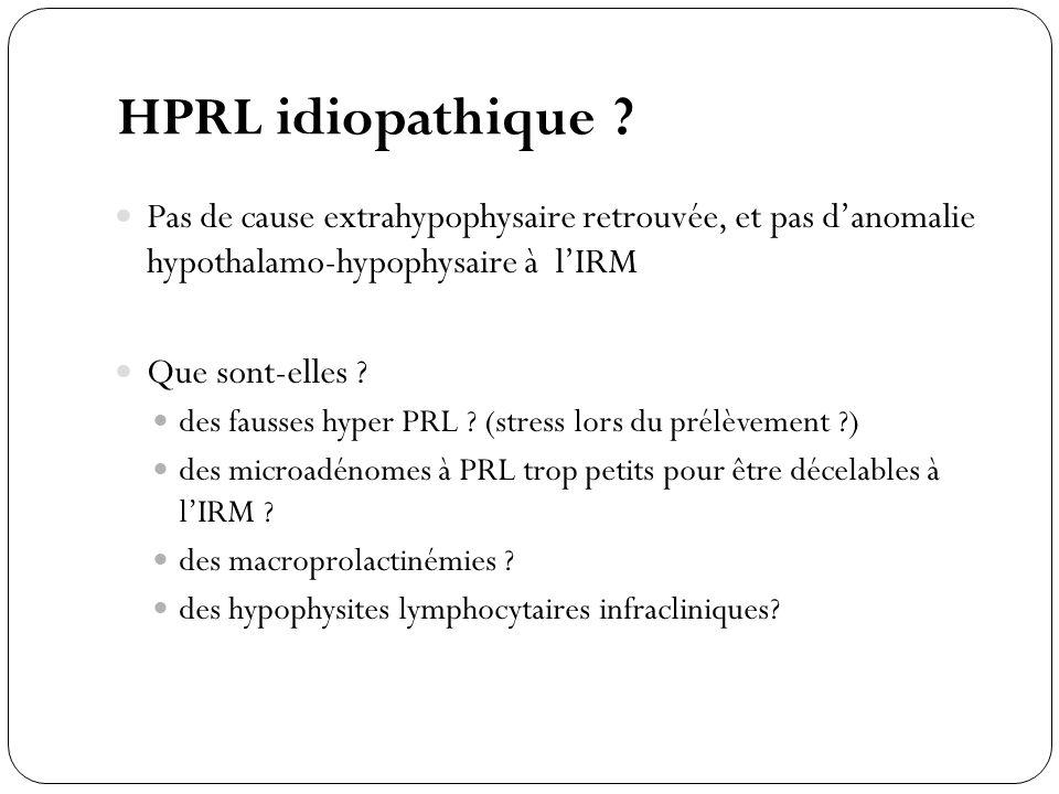 HPRL idiopathique ? Pas de cause extrahypophysaire retrouvée, et pas danomalie hypothalamo-hypophysaire à lIRM Que sont-elles ? des fausses hyper PRL