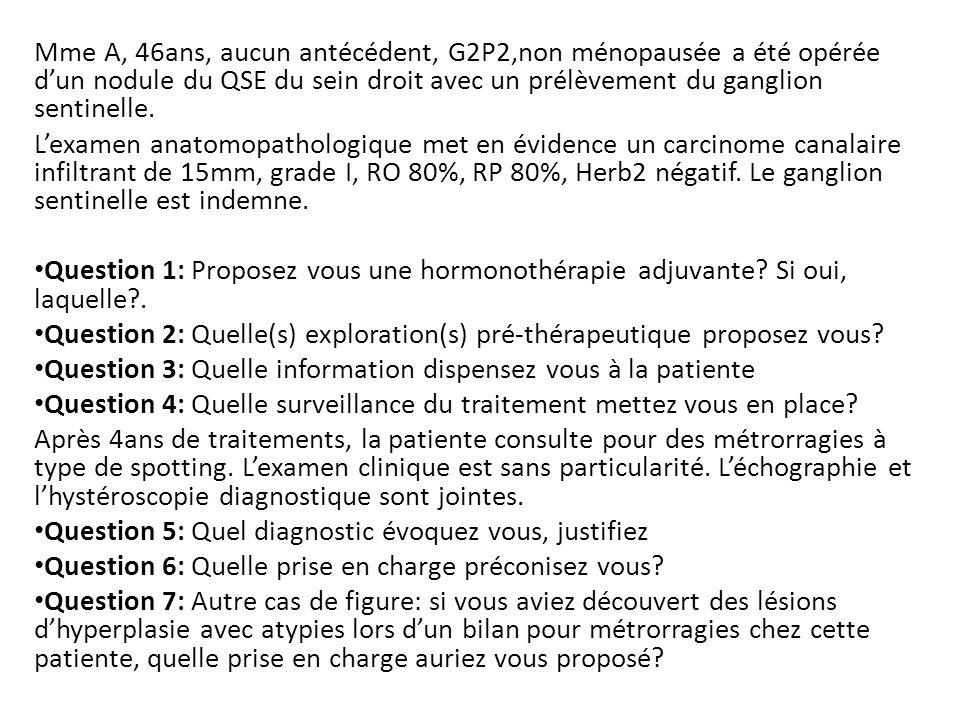 Mme A, 46ans, aucun antécédent, G2P2,non ménopausée a été opérée dun nodule du QSE du sein droit avec un prélèvement du ganglion sentinelle.