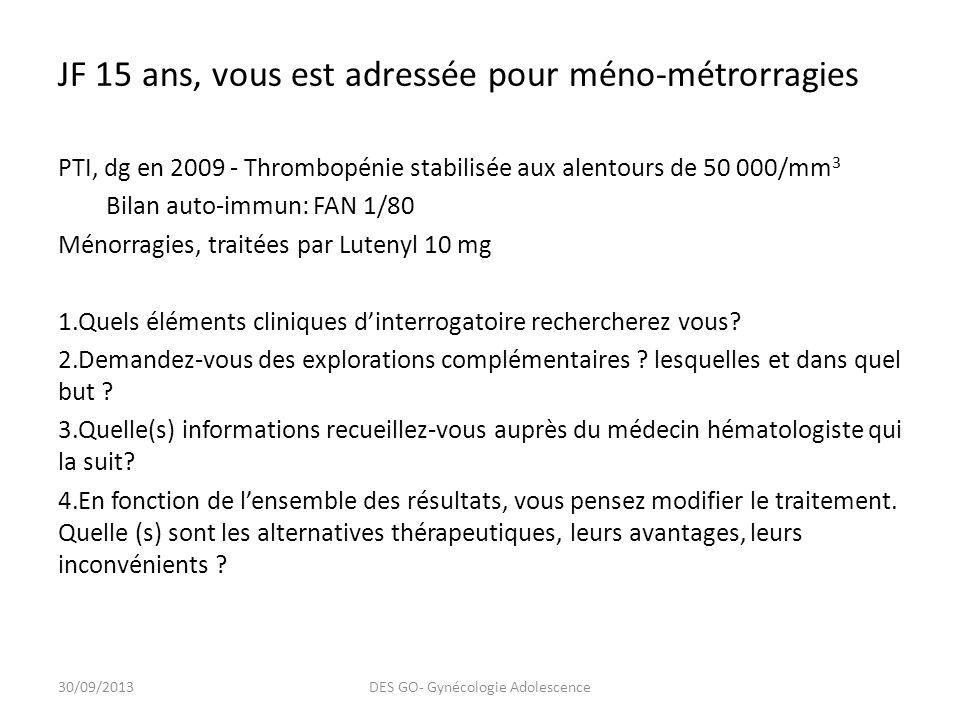 JF 15 ans, vous est adressée pour méno-métrorragies PTI, dg en 2009 - Thrombopénie stabilisée aux alentours de 50 000/mm 3 Bilan auto-immun: FAN 1/80 Ménorragies, traitées par Lutenyl 10 mg 1.Quels éléments cliniques dinterrogatoire rechercherez vous.