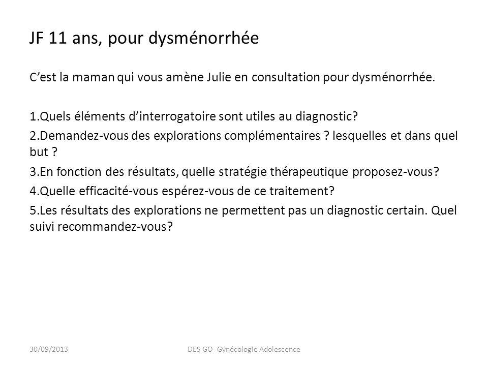 JF 11 ans, pour dysménorrhée Cest la maman qui vous amène Julie en consultation pour dysménorrhée.