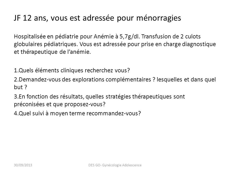 JF 12 ans, vous est adressée pour ménorragies Hospitalisée en pédiatrie pour Anémie à 5,7g/dl.