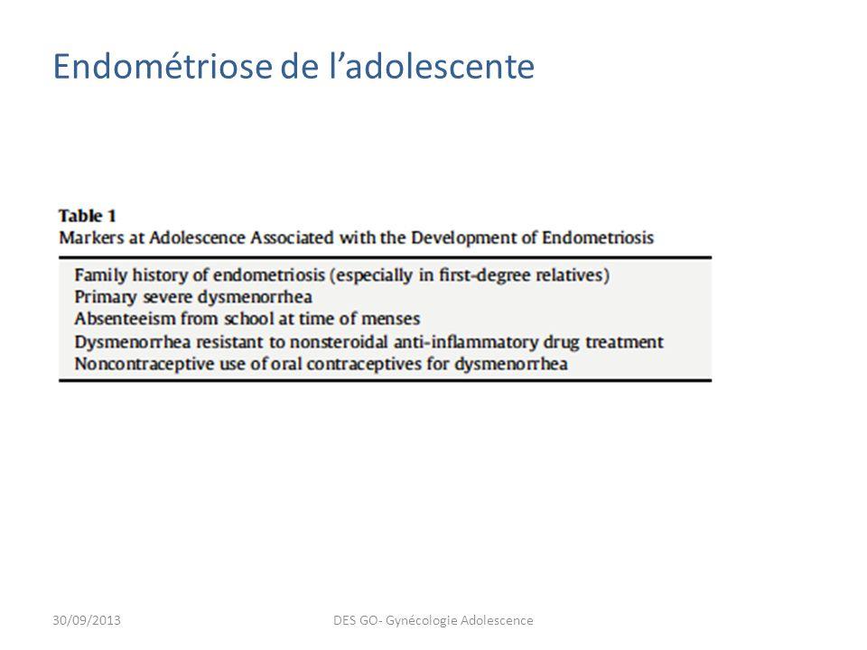 Endométriose de ladolescente 30/09/2013DES GO- Gynécologie Adolescence