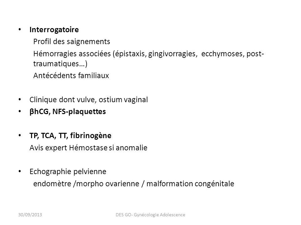Interrogatoire Profil des saignements Hémorragies associées (épistaxis, gingivorragies, ecchymoses, post- traumatiques…) Antécédents familiaux Clinique dont vulve, ostium vaginal βhCG, NFS-plaquettes TP, TCA, TT, fibrinogène Avis expert Hémostase si anomalie Echographie pelvienne endomètre /morpho ovarienne / malformation congénitale 30/09/2013DES GO- Gynécologie Adolescence