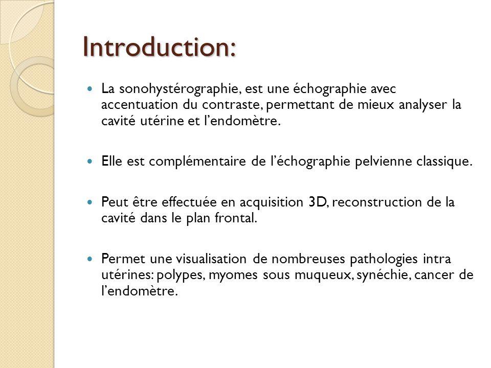 Introduction: La sonohystérographie, est une échographie avec accentuation du contraste, permettant de mieux analyser la cavité utérine et lendomètre.