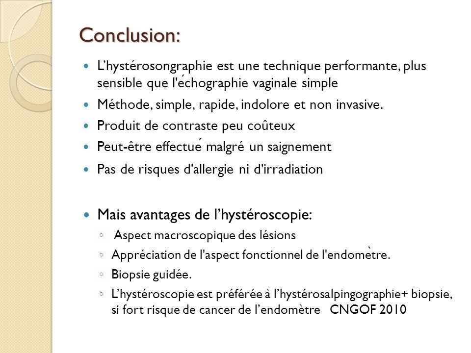 Conclusion: Lhystérosongraphie est une technique performante, plus sensible que l'echographie vaginale simple Méthode, simple, rapide, indolore et non