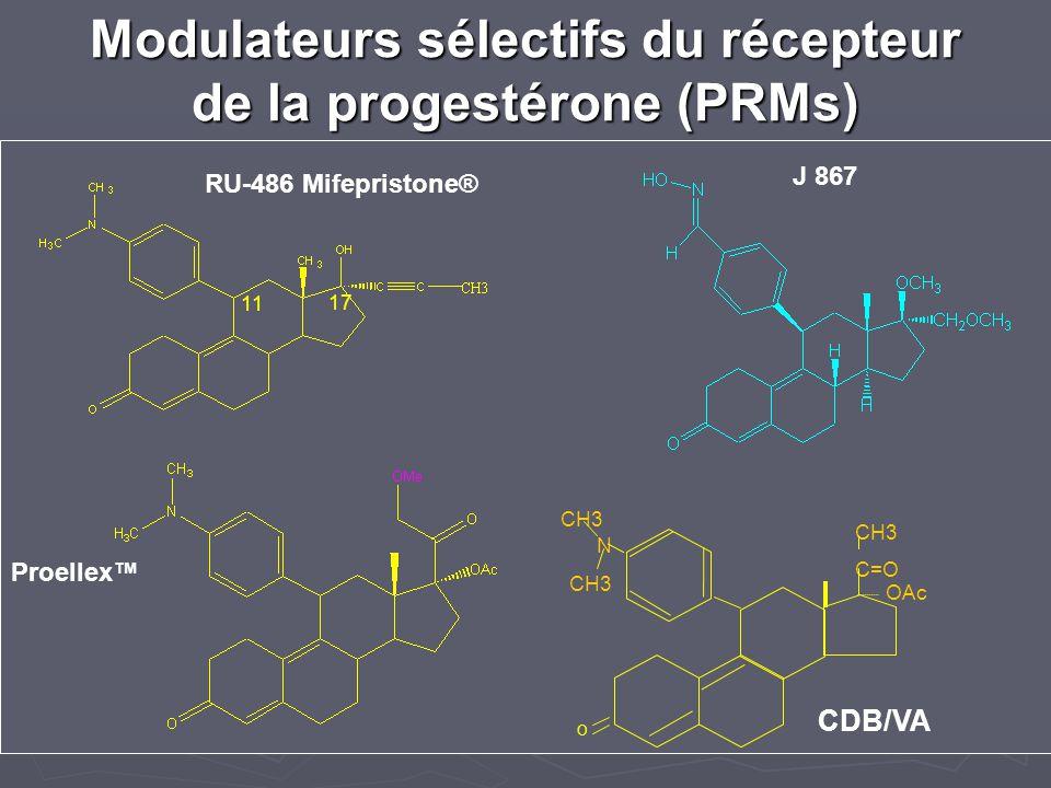 Modulateurs sélectifs du récepteur de la progestérone (PRMs) Proellex J 867 RU-486 Mifepristone® CDB/VA 2914 N CH3 C=O OAc O 11 17