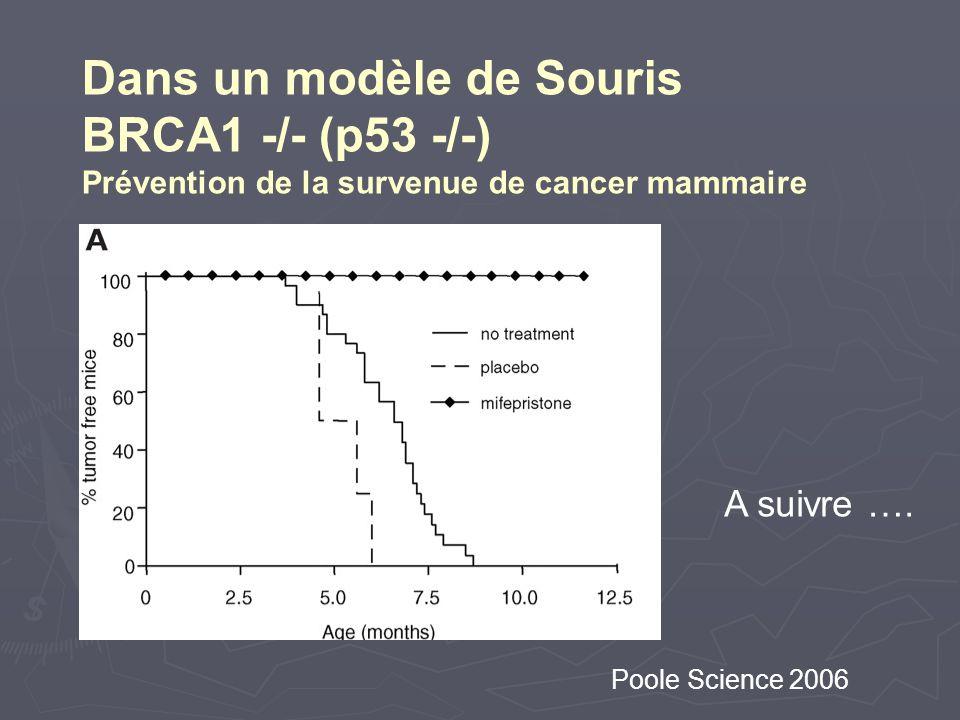 Poole Science 2006 Dans un modèle de Souris BRCA1 -/- (p53 -/-) Prévention de la survenue de cancer mammaire A suivre ….