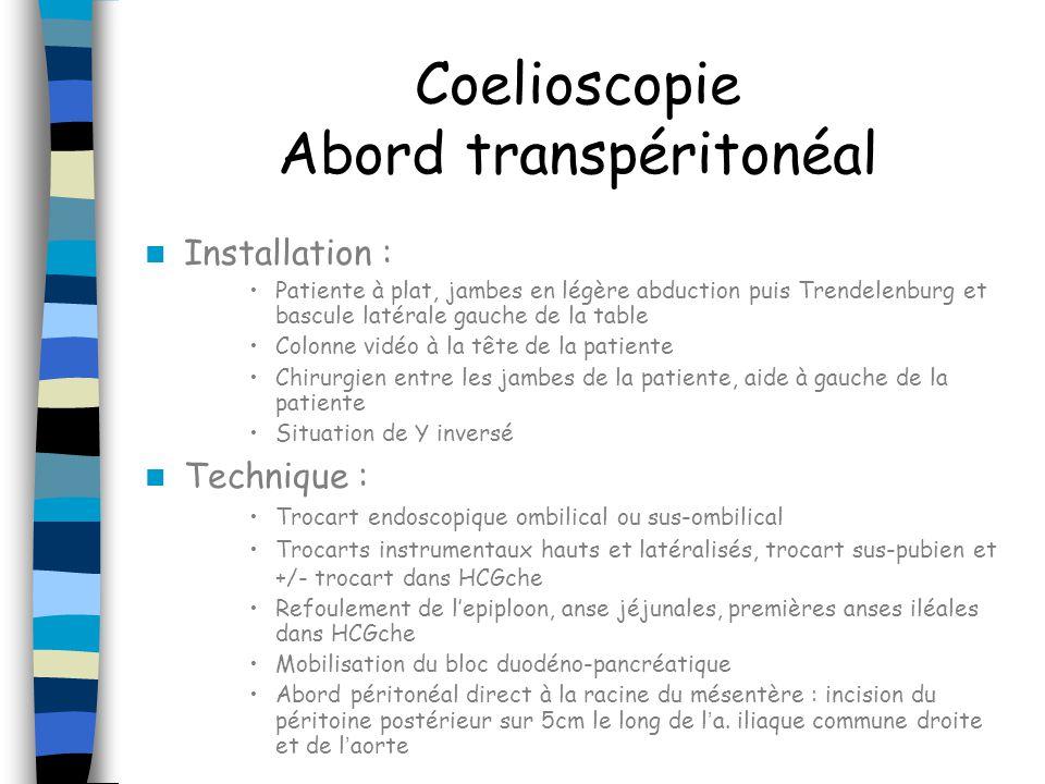 Coelioscopie Abord transpéritonéal Installation : Patiente à plat, jambes en légère abduction puis Trendelenburg et bascule latérale gauche de la tabl