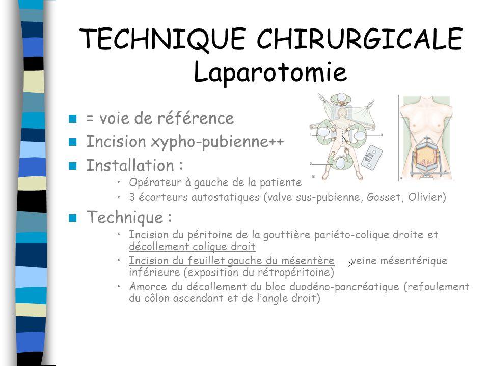 Laparotomie Visualisation veine rénale gauche et ligature-section de la veine ovarienne droite à 1cm de son origine sur la VCI (après repérage de luretère droit) Exérèse des ganglions latérocave, précave et interaorticocave de bas en haut ( attention aux vaisseaux lombaires) Accès à lorigine de lAMI, repérage de luretère gauche, ligature- section de lartère ovarienne gauche, exérèse du pédicule lombo- ovarien, exérèse ganglions pré et latéroaortiques (sus et sous AMI) Exérèse des ganglions du promontoire Exérèse des ganglions iliaques primitifs bilatéraux Drainage aspiratif pelvien +/- interaorticocave (à enlever entre J3 et J7 sinon entretient la lymphocèle) Pas de péritonisation