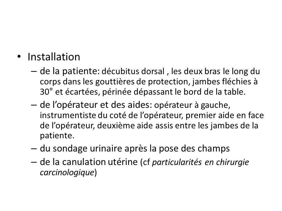 Installation – de la patiente: décubitus dorsal, les deux bras le long du corps dans les gouttières de protection, jambes fléchies à 30° et écartées,