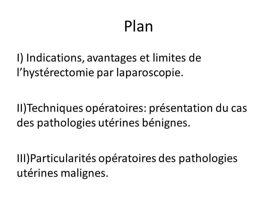 Plan I) Indications, avantages et limites de lhystérectomie par laparoscopie. II)Techniques opératoires: présentation du cas des pathologies utérines
