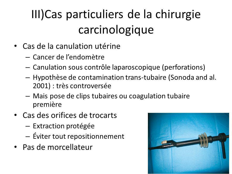 III)Cas particuliers de la chirurgie carcinologique Cas de la canulation utérine – Cancer de lendomètre – Canulation sous contrôle laparoscopique (per