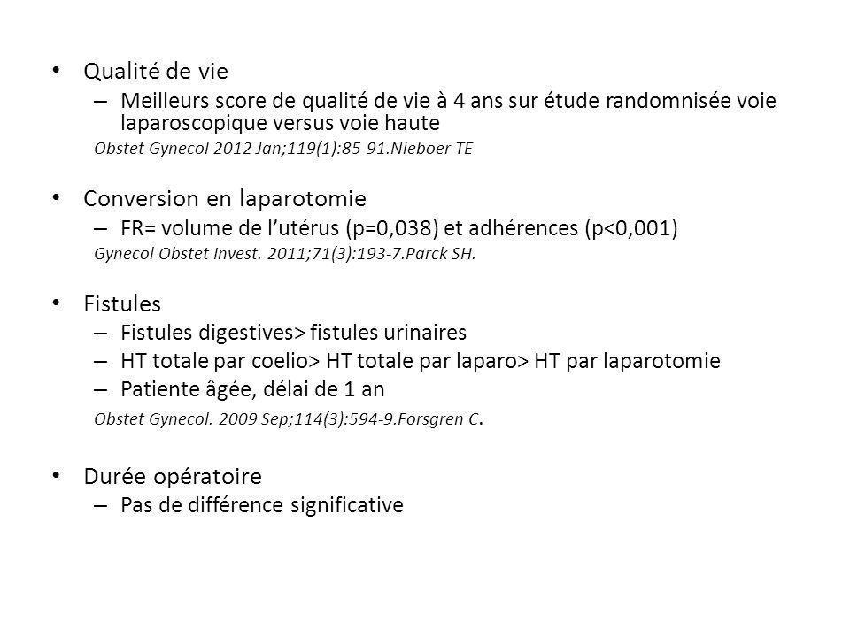 Qualité de vie – Meilleurs score de qualité de vie à 4 ans sur étude randomnisée voie laparoscopique versus voie haute Obstet Gynecol 2012 Jan;119(1):