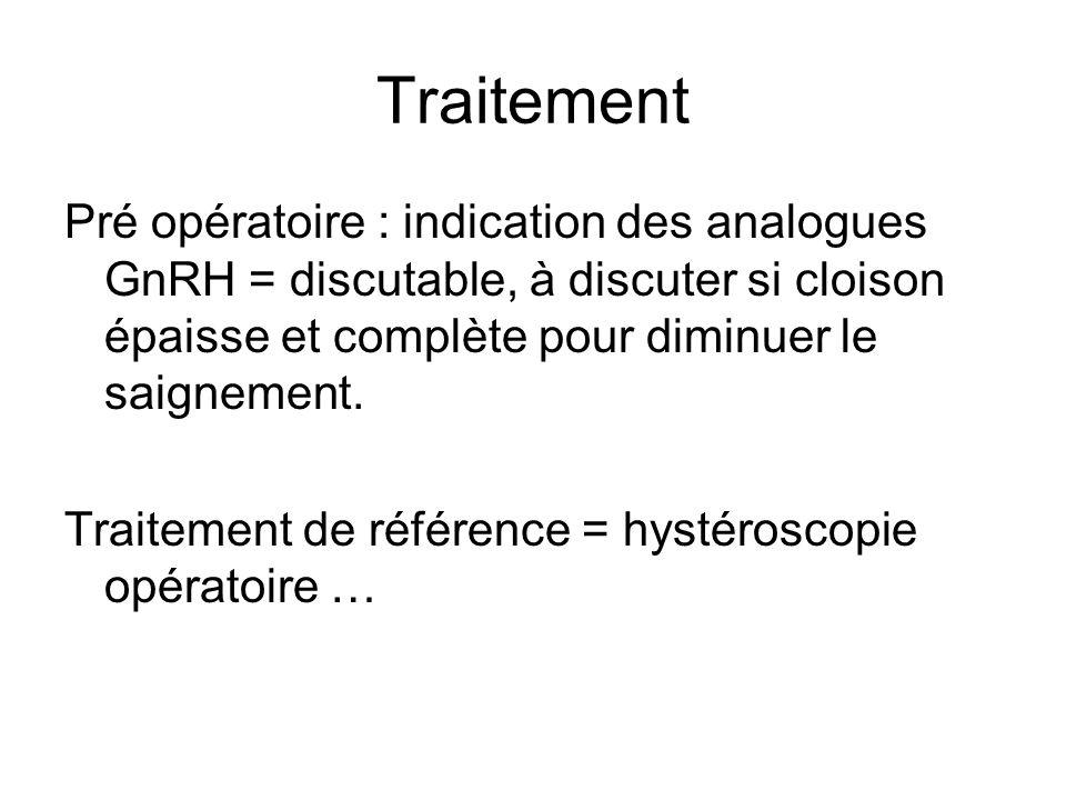 Traitement Pré opératoire : indication des analogues GnRH = discutable, à discuter si cloison épaisse et complète pour diminuer le saignement. Traitem