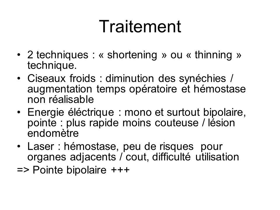 Traitement 2 techniques : « shortening » ou « thinning » technique. Ciseaux froids : diminution des synéchies / augmentation temps opératoire et hémos