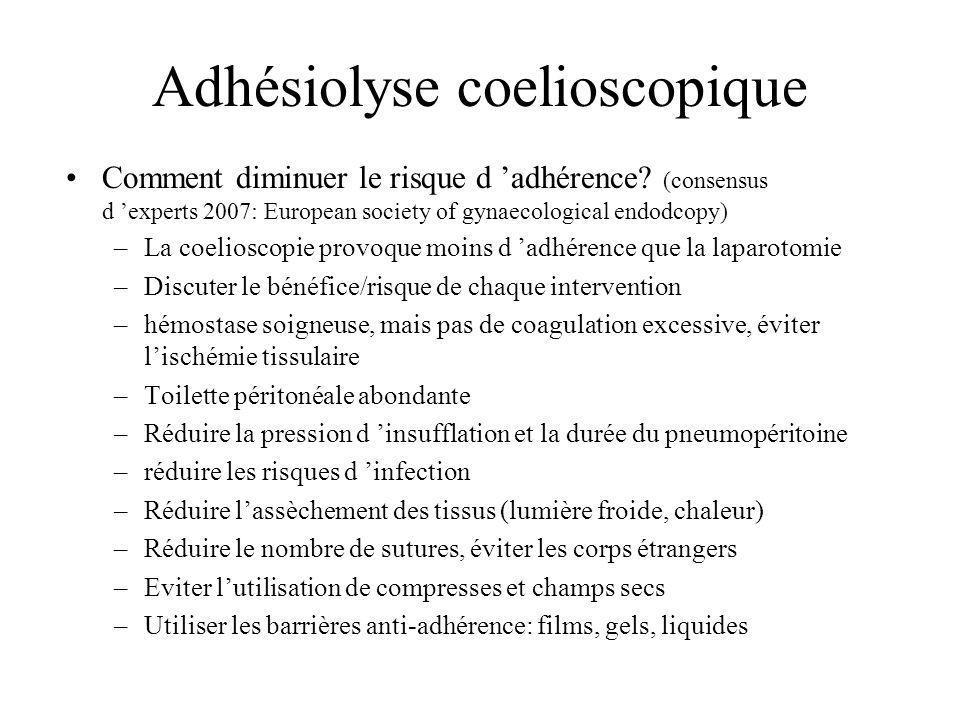 Adhésiolyse coelioscopique Comment diminuer le risque d adhérence? (consensus d experts 2007: European society of gynaecological endodcopy) –La coelio