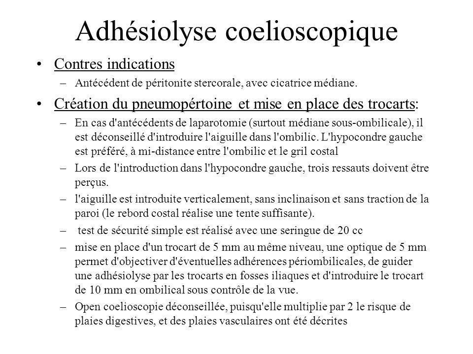 Adhésiolyse coelioscopique Contres indications –Antécédent de péritonite stercorale, avec cicatrice médiane. Création du pneumopértoine et mise en pla