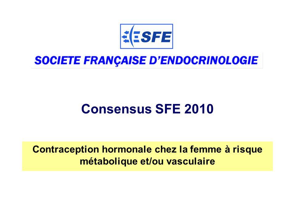 52 Consensus SFE 2010 Chakhtoura Z et al (en cours) Globalement OR: 1,07 [0,62-1,84] 6 études Voie orale OR: 1,05 [ 0,60-1,85] DMPA : OR: 0,66 [ 0,07-6,00] Implant désogestrel : Pas de données DIU Lévonorgestrel : Pas de données Macroprogestatifs : Pas de données Progestatifs et risque dinfarctus du myocarde