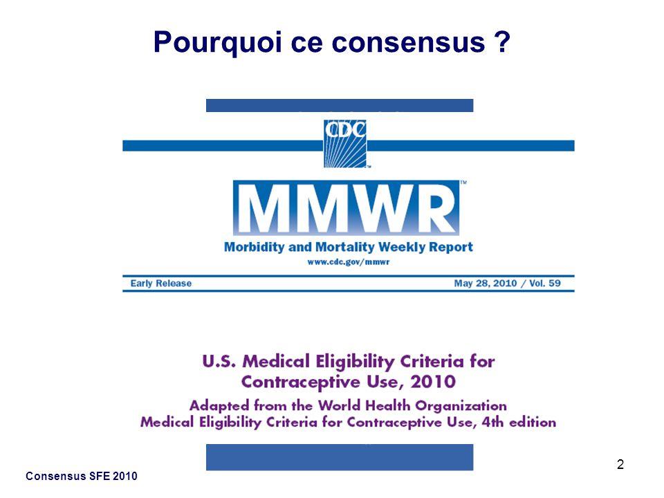 23 Consensus SFE 2010 Situation contraceptive en France: Données épidémiologiques Evolution de la pratique contraceptive Les échecs de contraception Choix contraceptif Préférence des femmes Efficacité Acceptabilité Bénéfices/Risques pour la santé