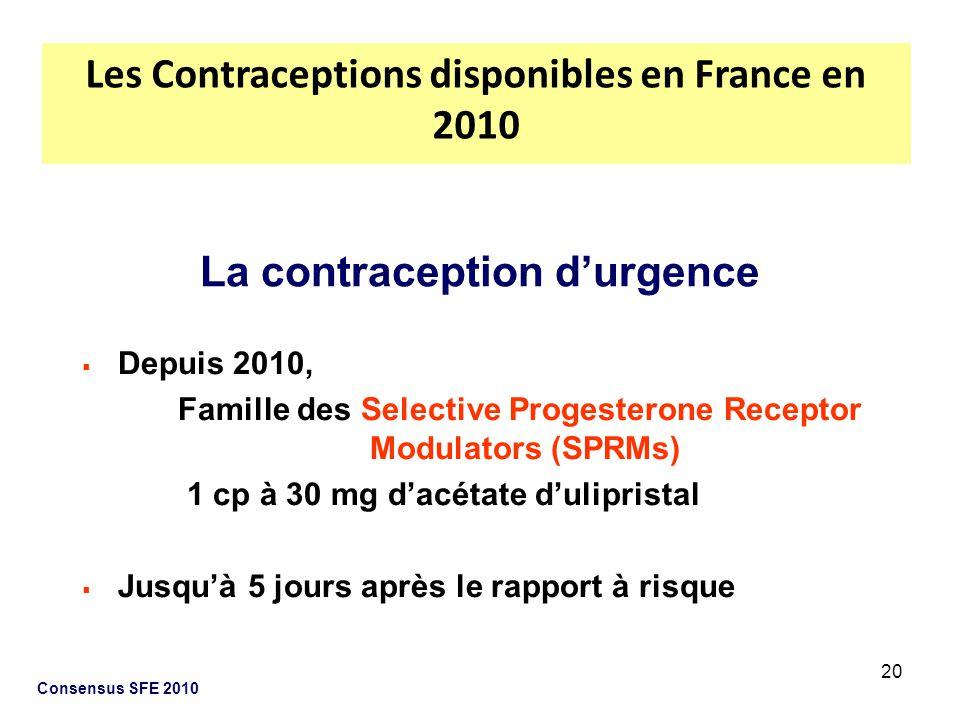 20 Consensus SFE 2010 Depuis 2010, Famille des Selective Progesterone Receptor Modulators (SPRMs) 1 cp à 30 mg dacétate dulipristal Jusquà 5 jours apr