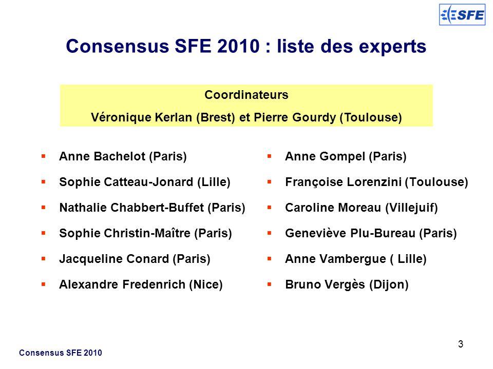 3 Consensus SFE 2010 : liste des experts Anne Bachelot (Paris) Sophie Catteau-Jonard (Lille) Nathalie Chabbert-Buffet (Paris) Sophie Christin-Maître (