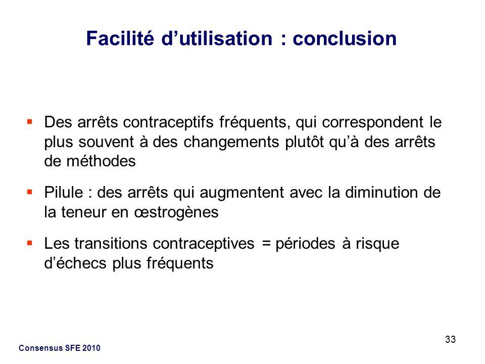 33 Consensus SFE 2010 Des arrêts contraceptifs fréquents, qui correspondent le plus souvent à des changements plutôt quà des arrêts de méthodes Pilule