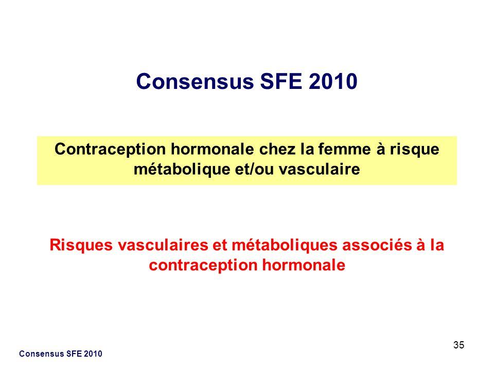 35 Consensus SFE 2010 Contraception hormonale chez la femme à risque métabolique et/ou vasculaire Risques vasculaires et métaboliques associés à la co
