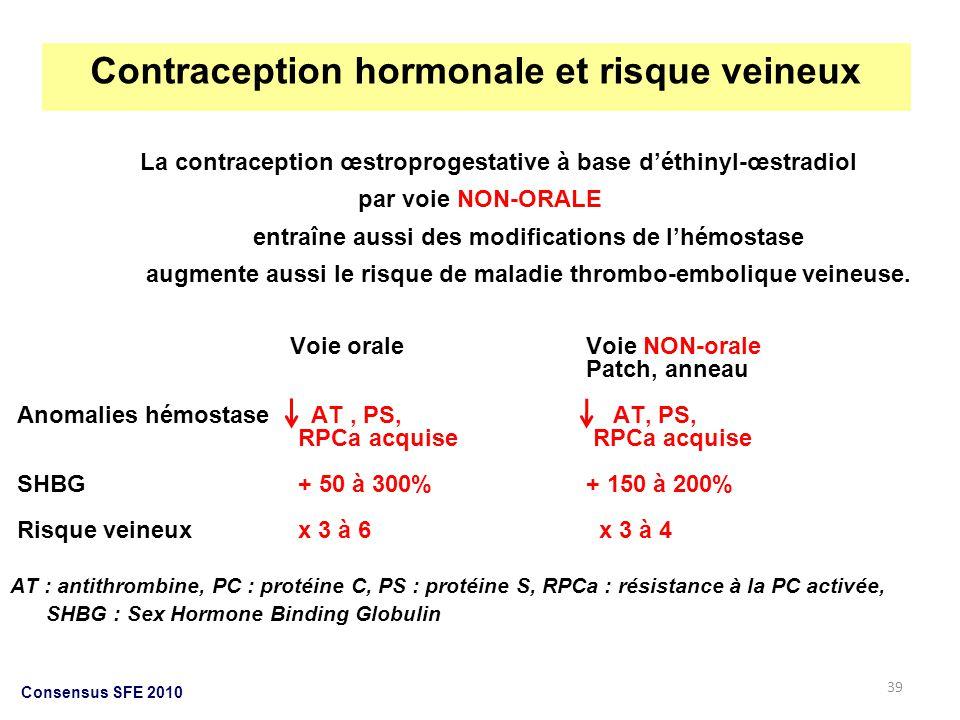 39 La contraception œstroprogestative à base déthinyl-œstradiol par voie NON-ORALE entraîne aussi des modifications de lhémostase augmente aussi le ri